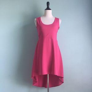 VeryJ Hot Pink Hi-Lo Backless Sleeveless Dress